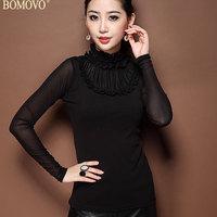 Bomovo 2013 autumn gauze lace collar elastic waist slim basic shirt at random all-match black top