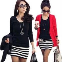 2013 autumn women's o-neck slim stripe patchwork plus velvet women's long-sleeve dress hot-selling