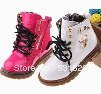 2013 winter models children bright patent leather boots warm snow boots boys and girls