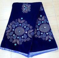 Korea velvet lace, lace fabric,nice stone, hot design, rapa material.fast delivery, V140 royalblue