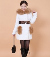 2013 Women's Thickening Down-Padded Plus Size XXL Top Fur Collar Coat Pocket Down Coat Long Down Cotton-Padded Jacket With Belt