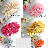 Hair Accessories Big Chiffon Flower with pearls flat back for girls women shoe flower head flower 30pcs/lot