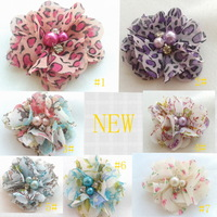 wholesale 2 inch mini chiffon pearl  diamond  flowers heads  flowers for hair headbands 50pcs/lot