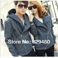 Wholesale  2014 new hot sales men and women lovers fall coat, hooded sportswear, inclined zipper jacket. black free shipping