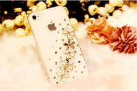 HK Free Shipping NEW Luxury 3D 5 Wildflower Bling Crystal Diamond flower Case Cover For iPhone4 4S Retail Package Accessory