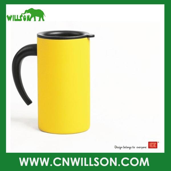 Free Shipping 280ml yellow mug double wall stainless steel coffee mug with lid and handle(China (Mainland))