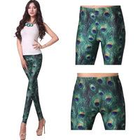 HOT! SEXY! leggings Fashion Shiny Milk Leggings Women Clothing 2013 New PEACOCK LEGGINGS Digital Print SWL-109
