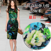 Free Shipping Summer one-piece dress cheongsam clothes mulberry silk print silk diy silk material width