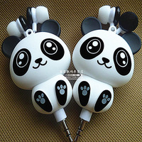 Panda automatic retractable earphones computer stereo sound mobile phone cartoon earphones dust plug