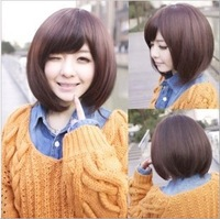 Novelty Wig female fluffy oblique bangs , bobo short straight hair bob wig