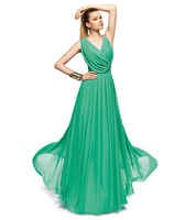 Elegant evening dress summer green chiffon one-piece dress bridesmaid dress evening dress double-shoulder V-neck be09