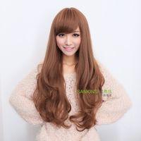 Novelty Wig long roll fluffy oblique bangs matt big wave long curly hair wigs