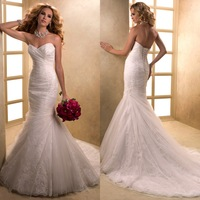 Wedding dress quality lace applique wedding dress slim waist puff and fish tail skirt train wedding dress bw41