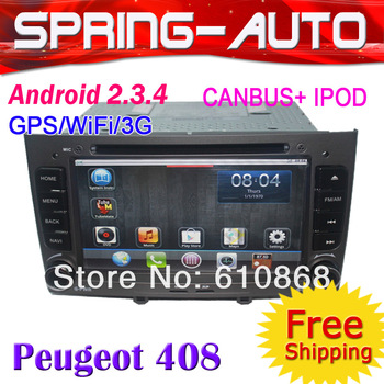 "FREEShipping  2 Din 7"" Android 2.3.5  Car Radio PC Multimedia For ""Peugeot 308 408"" DVD GPS 800Mhz CPU+512M DDR+Can-BUS"
