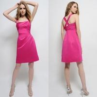 Quality short skirt rose satin fabric small short skirt double-shoulder spaghetti strap wedding bridesmaid dress hs79