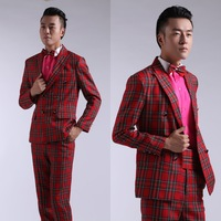 Men's clothing red plaid suits suit costume