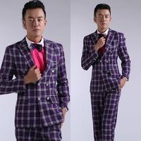 Purple plaid suits suit men's clothing