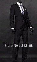FREE shipping/custom made cheap tuxedos Black Groom Tuxedos Notch Lapel Groomsmen/Man Wedding groom wear dress men's suits