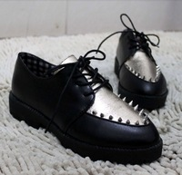 Wedges Flat Heels Lace up Creepers Shoes Boots Height Increasing new arrival spring platform single shoes female casual shoes