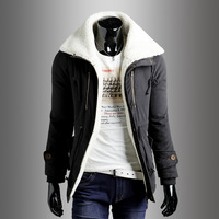 2013 autumn and winter slim male turn-down collar casual medium-long wadded jacket outerwear male casual wadded jacket