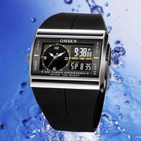 OHSEN Men Dual Display Sports Digital Waterproof Watch 2014 New Kids Casual Silicone Analog Quartz Military Wristwatch 4 Colors