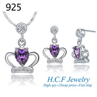 925 Plating Direct Sale Best Price 2013New Fashion 18k white gold plated crown Suit Gem-set Series Water Droplets Free shipping