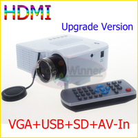 High Quality Mini AV LED Digital Video Game Projectors HDMI VGA A/V USB & SD Port With Remote Control Video Cable Free shipping!