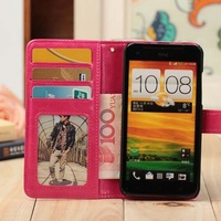 1piece For htc x920e butterfly crazy horse pattern designer case original leather cover wallet with stand and card holder 8color