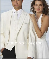 Top selling!FREE shipping!Custom made cheap new style ivory men's italian suits/wedding Groom wear dress/man bridegroom tuxedos