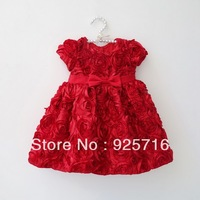 kids/children party or,beautiful princess girl brand red dress with  for party full of flowers 4535466