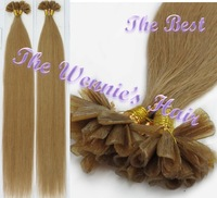 Wennie's Best Quality 18# U-tip Nail Hair Brazilian Nature Remy Human Hair Extension 22'' light Brown 1g/s 100g/pack Free Ship