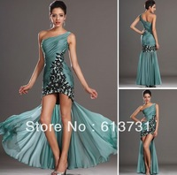 Wholesale - 2013 Elegant One Shoulder Chiffon Hi-Lo Prom Dress Ruffles Applique Beaded Cockail Dresses BO1089