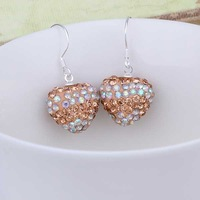 New Arrival!!Wholesale 925 Silver Earring,Disco Ball Bead,Cute Crystal Heart Shamballa Earring,Fasion jewelry SBE157