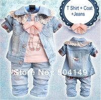 Free Shipping Girls Set Jeans Set T Shirt +Coat +Jeans Baby Clothes Set  3sets/lot