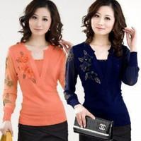Fashion Women Flower Embroidery Design Sweaters Pullover Cashmere Top Blouse Jumper Female Slim Primer Shirt Knitwear S - XXXL