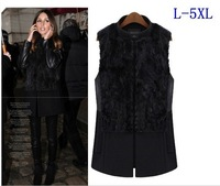 2013 new arrival women fashion vest plus size star style rabbit fur patchwork woolen vest women clothes 3XL 4XL 5XL