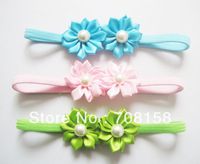 free shipping,800piece/lot Children princess girl 13 colors two flower pearl stretch hair band headbands,Hairband