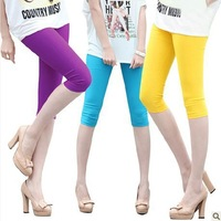 Hot Korean version of the candy-colored leggings pants Slim was thin summer ice silk pant wholesale 7390A
