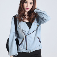 6210 - 2 autumn new arrival n9 lightgoldenrodyellow loose long-sleeve denim motorcycle jacket outerwear
