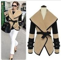 2013 autumn winter ladies british style personalized large lapel cape wool coat women warm outerwear sizeM,L,XL,XXL