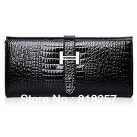 New Woman's Handbags Genuine Leather Crocodile Pattern Tri-Fold Long Wallet Holder Female Designer Clutch purse free shipping