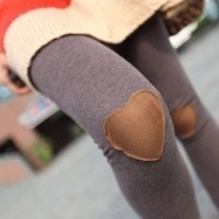 New Arrival Women Fashion Slim Fit Cute Leggings Love Heart in The Knee Elasticity Pantyhose Pencil Pants  WL024