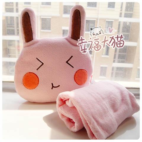 Rabbit plush doll coral fleece air conditioning casual blanket cushion pillow dual(China (Mainland))
