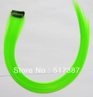 Top Fashion Girls Colorful Hair Extension Highlight Hair Synthetic Hair Eye-catching Hairpieces Clip in Hair Extensions K Green