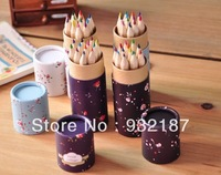 Free shipping,New sweet flower series 12 colors pencil with paper box / pencil case