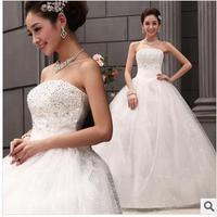 Bride tube top sexy sweet wedding dress princess dress