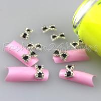 20pcs/pack Black 3D Nail Art Alloy Rhinestones Decoration Bow Tie 9mm*5mm Free Shipping