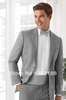 Custom made cheap new style design Light grey Notch Lapel Groom wear dress/Men's suits/wedding Groomsmen tuxedos!free shipping!