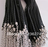 clearance sales 50pcs braided leather necklace cord with lobster clasp