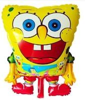 Free Shipping Cute SpongeBob Shape Aluminum Foil Balloon, Lovely Party Decorative Self-seal Balloon, Random Color Shipped PT0007